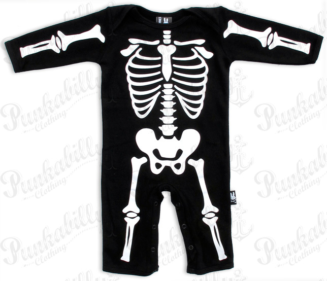 Long Sleeved Skeleton Print Baby Onesie