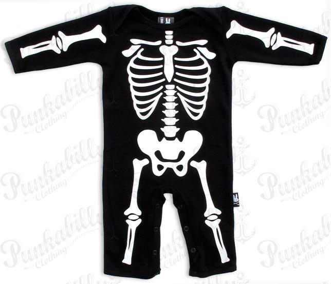 Long Sleeved Skeleton Print Baby Onesie