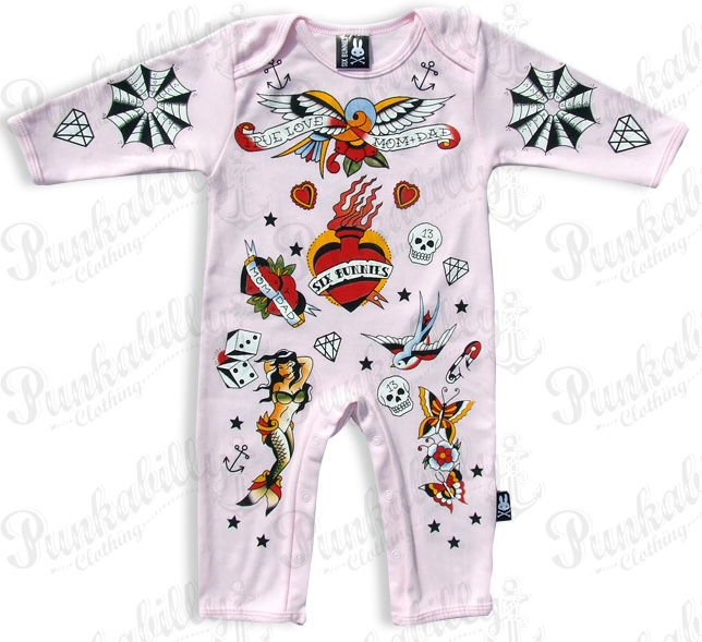 PINK OLD SCHOOL Rockabilly Onesie