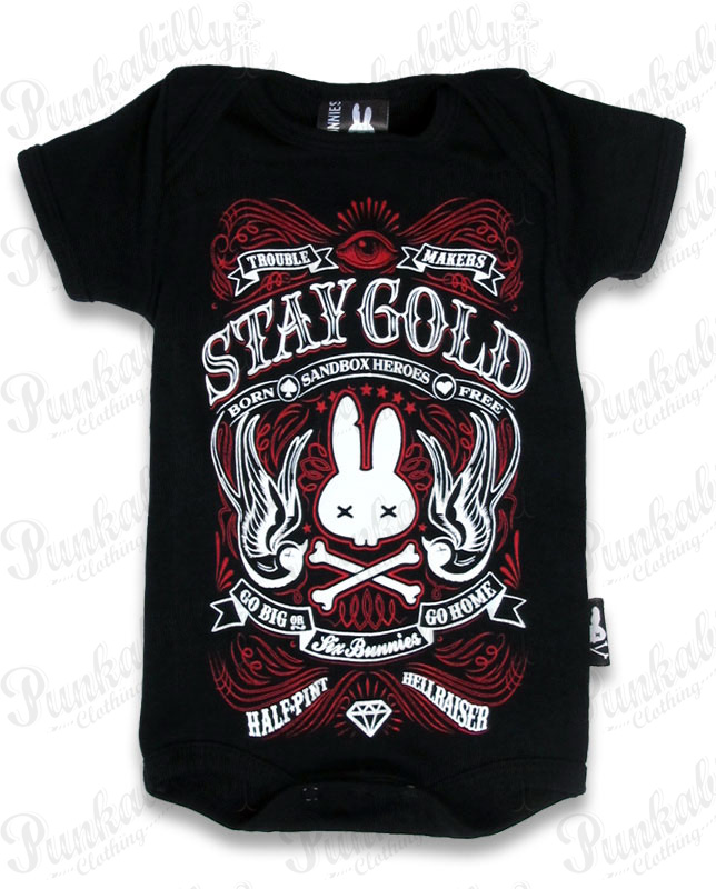 "Black ""Stay Gold"" Rockabilly Baby Onesie"