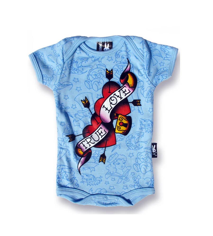 """True Love"" Rockabilly Blue Onesie"