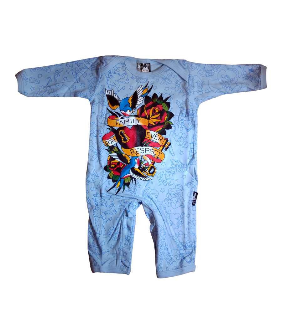 "Blue ""Family Forever Respect"" Baby Onesie"