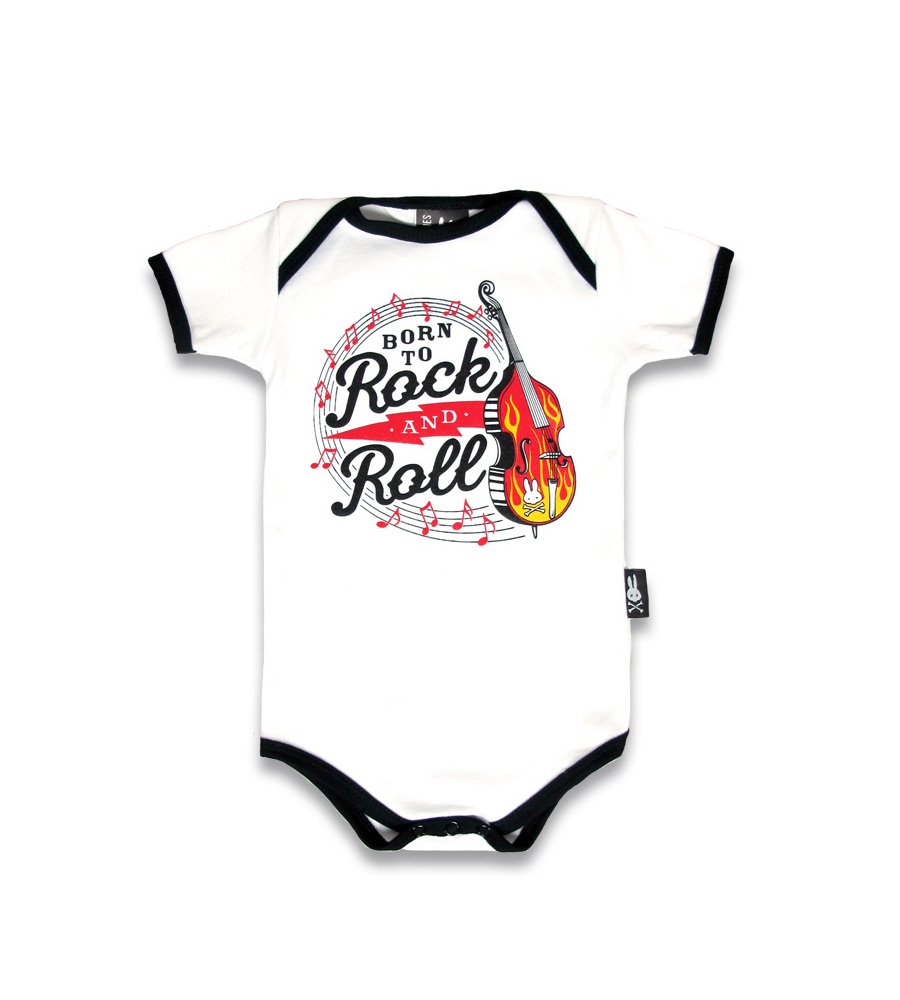 """Born To Rock And Roll"" Baby Onesie"