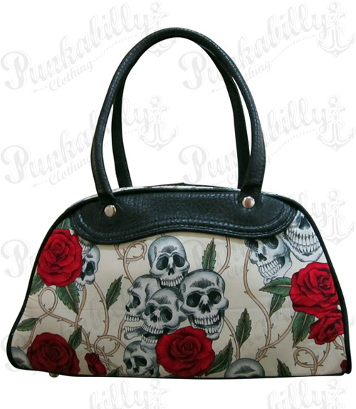 Cream Skulls & Roses Bowling Bag