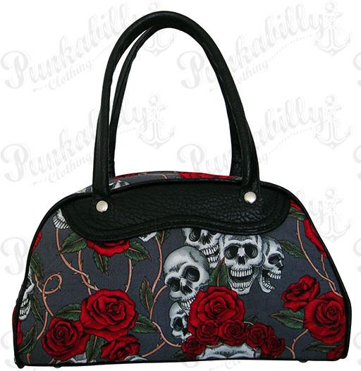 Gray Skulls & Roses Bowling Bag