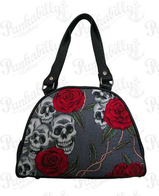 Gray Skulls & Roses Mini Bowling Bag