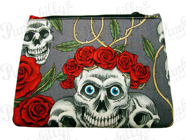 Gray Rockabilly Pouch with Skulls and Rosses