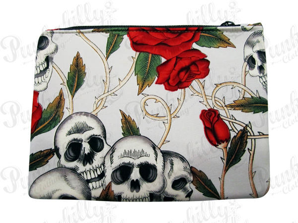 Light Blue Rockabilly Pouch with Skulls and Rosses