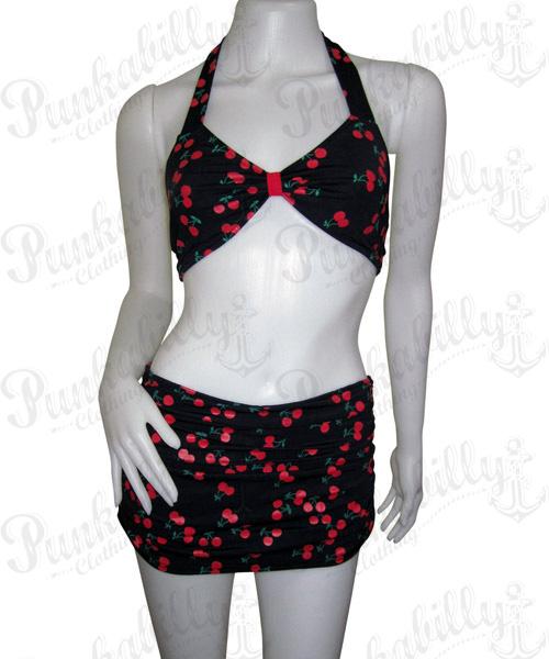 Rockabilly Cherry Skirt-a-like Bikini