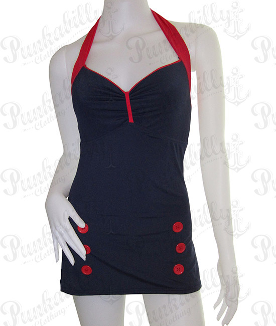 Navy Blue Pin Up Rockabilly Swimwear