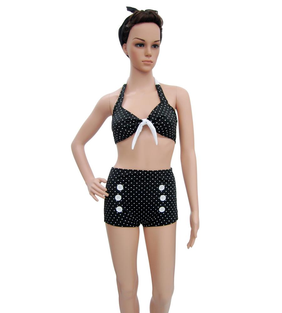 White Polka Dots Vintage Pinup black Bikini
