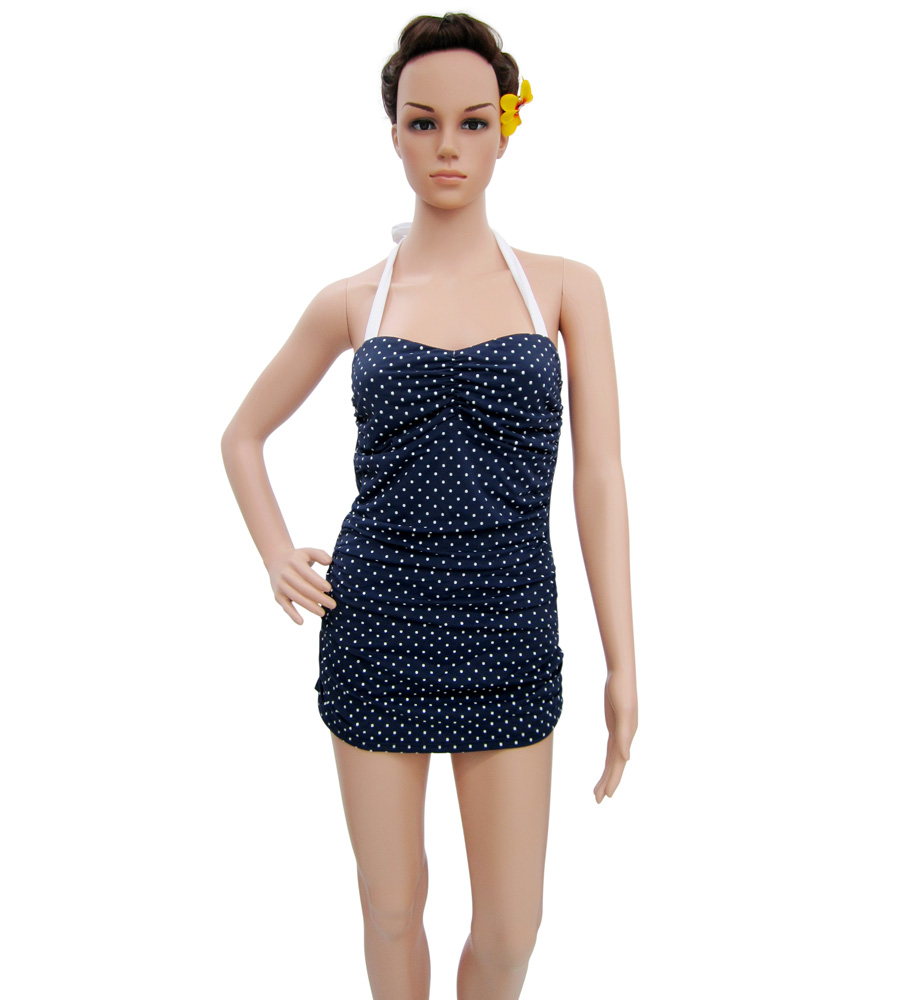 Pin Up Navy Blue with White Polka Dots swimsuit