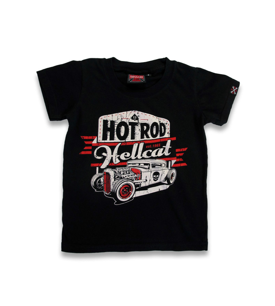 custom skull Hot Rod car rockabilly kids t-shirt