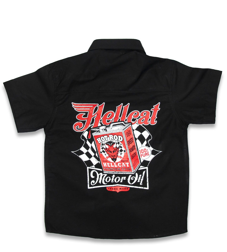 Motor Oil rockabilly kids work shirt