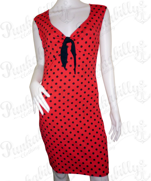 Rockabilly vintage red dress with black polka dots