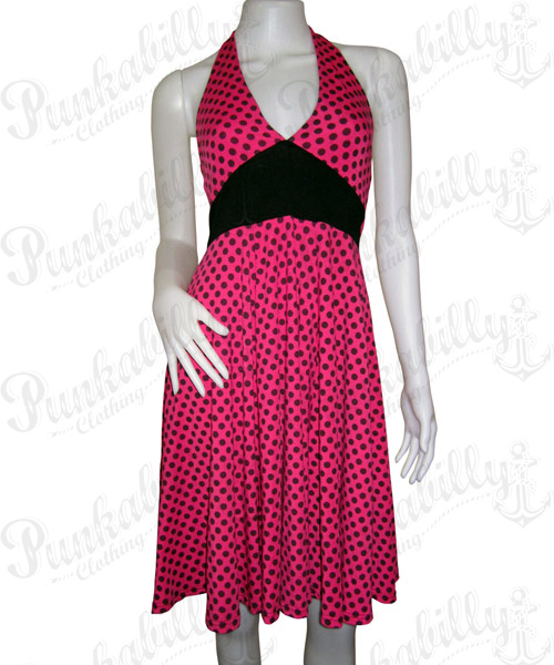 Pink dress with black polka dots