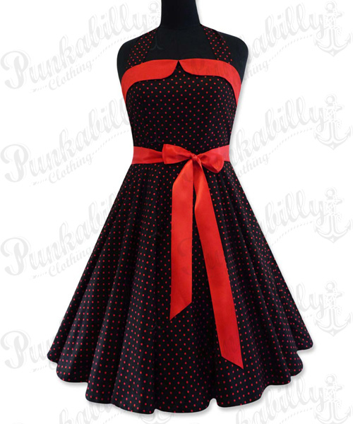 Black with red polka dots swing dress