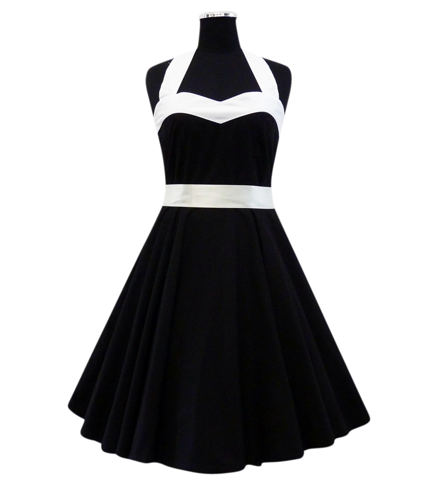 Heart Shape Black & White Rockabilly swing dress