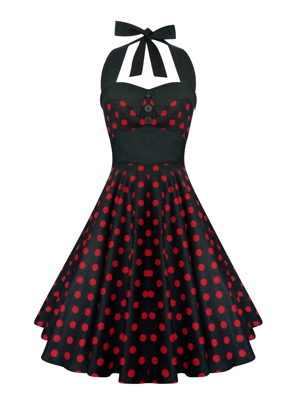 sassy 1950s red and black polka dotted dress