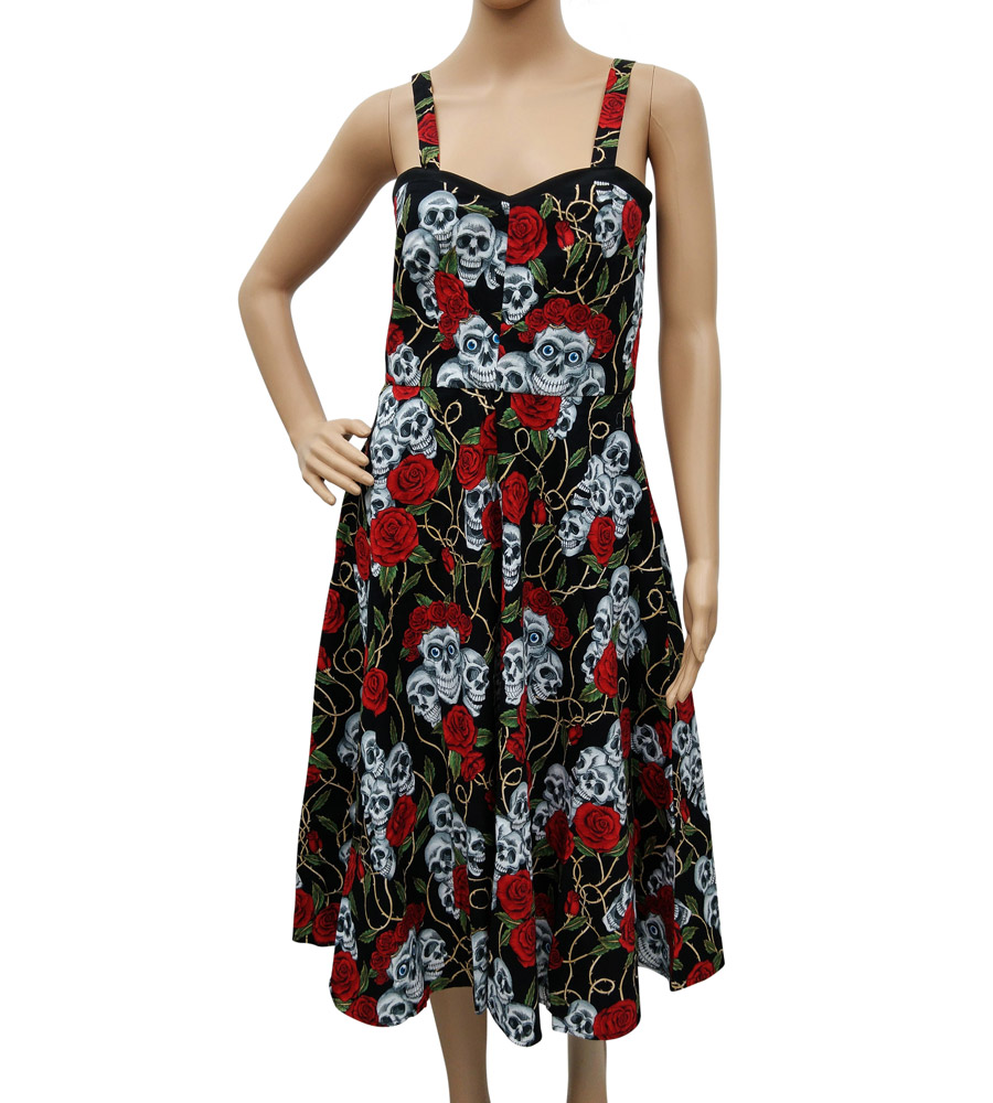 Rockabilly Style Skulls & Roses Black Dress