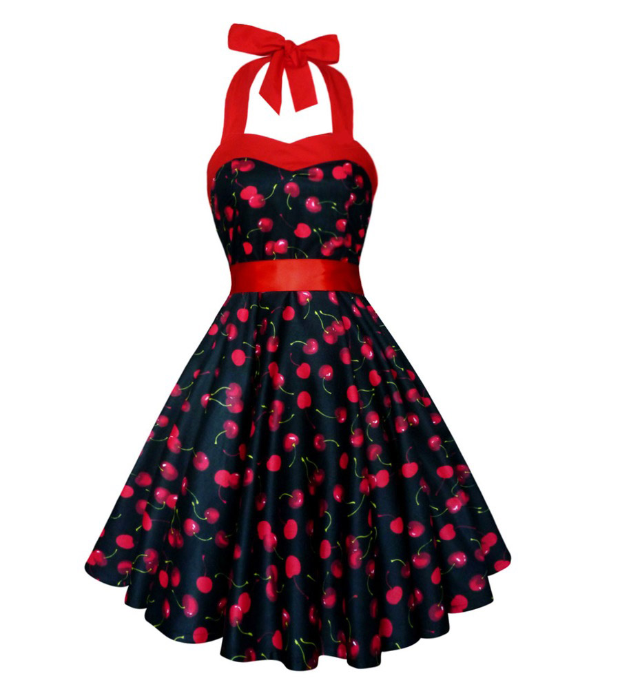Classic cherry print halter dress