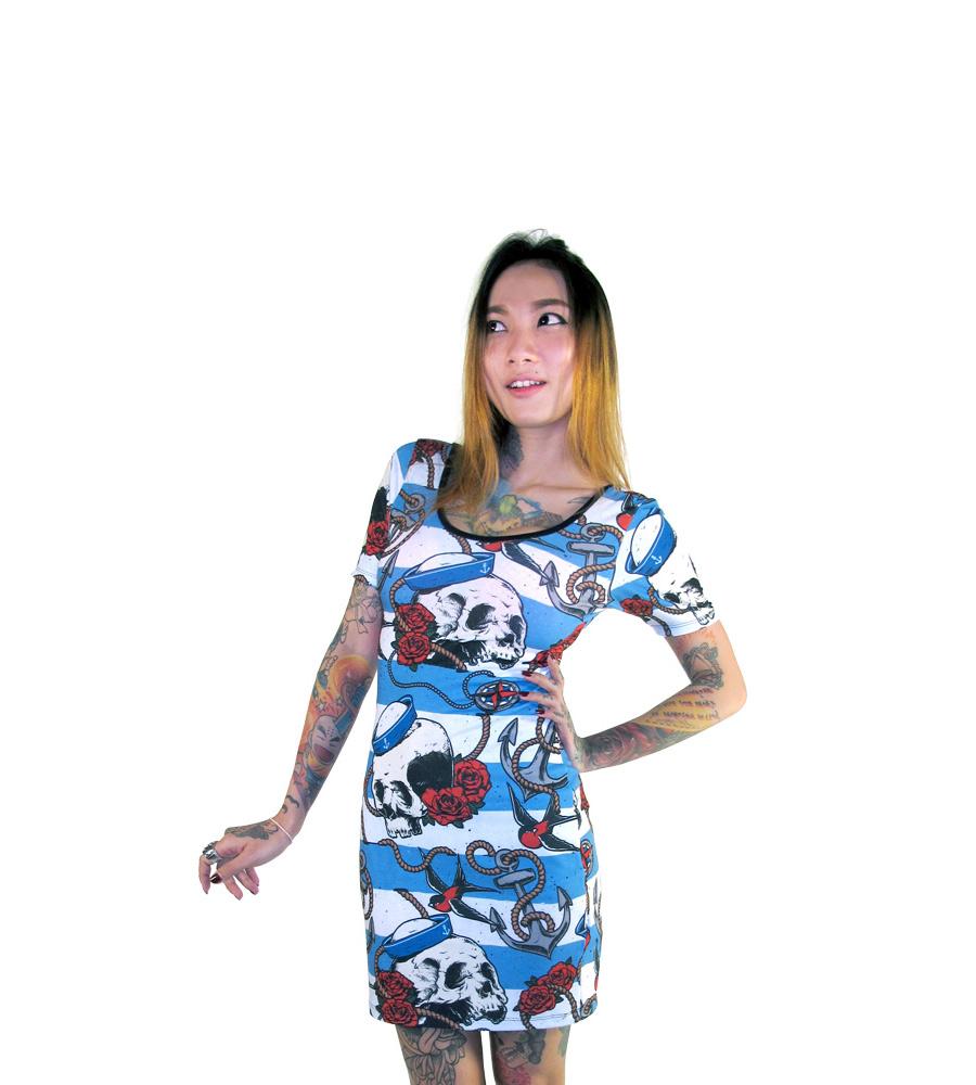 Nautical Skulls Tattoo Inspired Mini-Dress