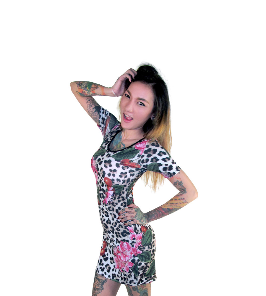 Leopard & Cherryblossom Mini Dress