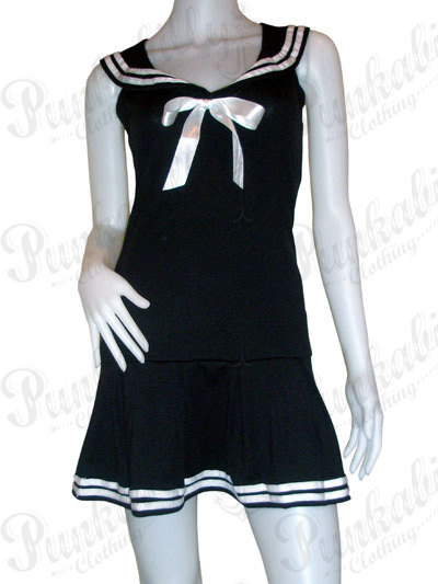 Rockabilly Black Sailor Dress with white bow