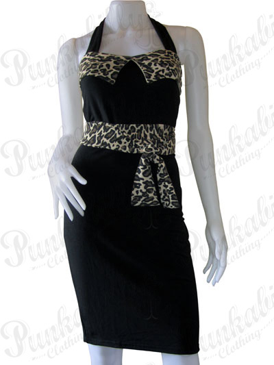 Black Rockabilly Leopard Dress