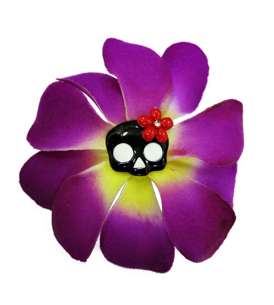 Purple and Yellow Rose & Skull Hair Pin