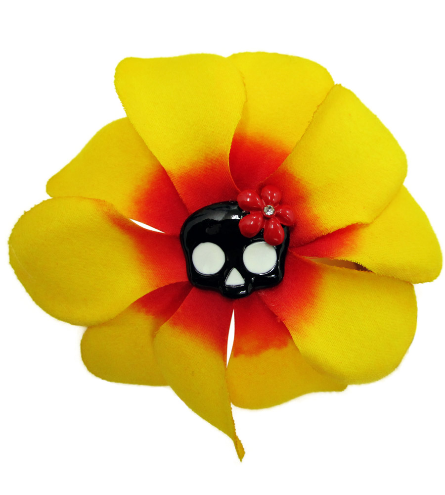 Yellow and Red Rose & Skull Hair Pin