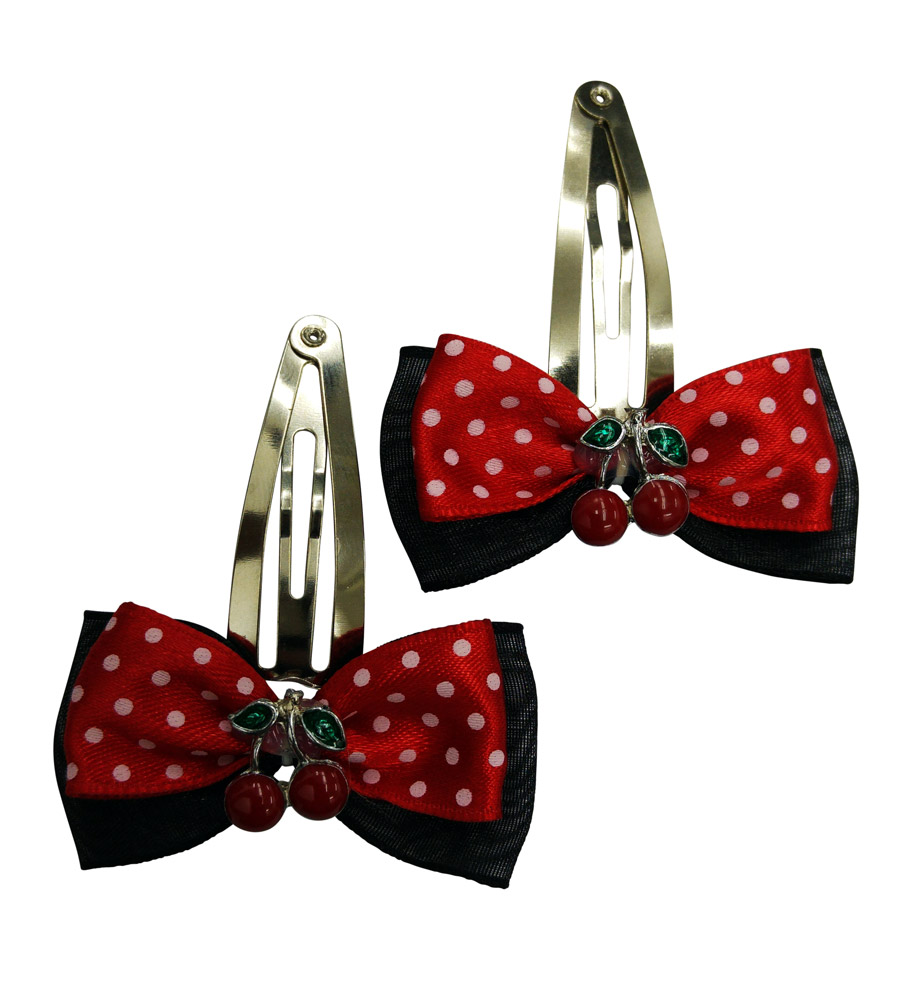 Black & Red Polka Dots Hair Pin Cherry