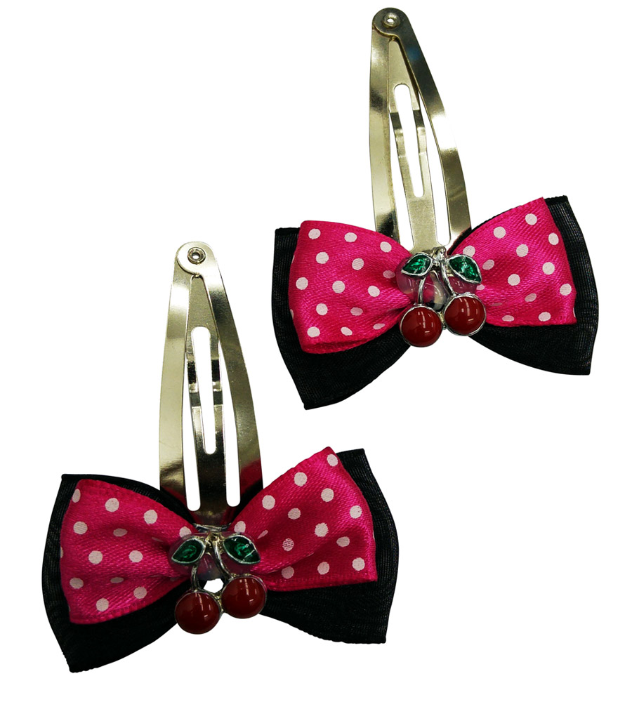 Black & Pink Cherrys Hair Pin with Polka Dots