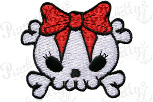 Red Ribbon Crossbones Skull Patch