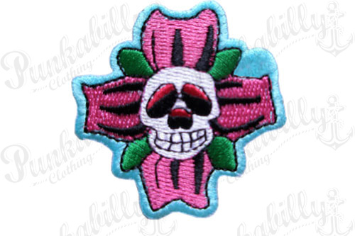 Rockabilly Flower Skull Patch