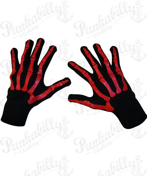 Black Gloves with Red Skeleton Design