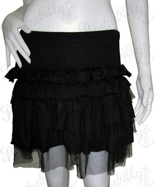 Black punk layers skirt