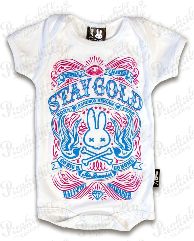 "Rockabilly White ""Stay Gold"" Baby Onesie"