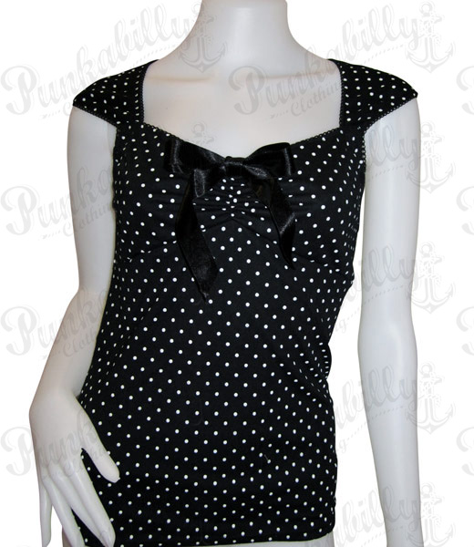 Polka Dots with ribbon Rockabilly Top