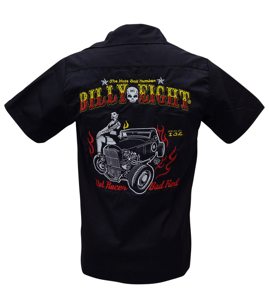 Rockabilly inspired collared work shirt hot rods