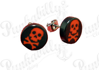 Black Ear studs with Red Cross Bones Skulls.