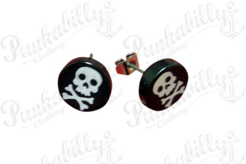 Black & White Crossbones Skull Ear Studs