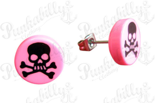 Pink & Black Crossbones Skull Ear Studs