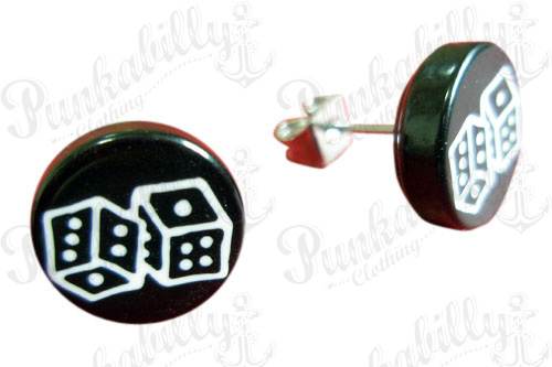Black Ear Studs with white Dices print