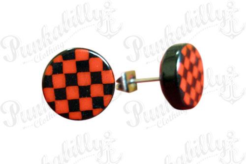 Red & Black Check Ear Studs