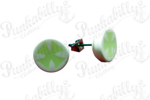 Glow In The Dark Iron Cross Ear Studs