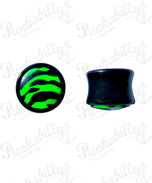 Black & Green acrylic plug with enamel zebra design