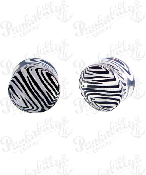 Black And White Acrylic Zebra Plug