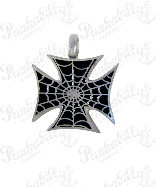 Iron Cross with Spider Web Pendant