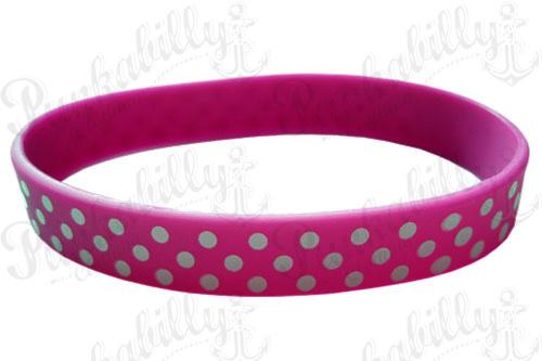 Polka Dots Pink Rubber Bracelet